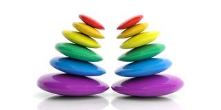 för regnbågezen för tolkning 3d buntar för stenar Royaltyfri Fotografi