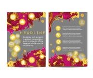 För reklamblad-/broschyrdesign för abstrakt vektor modern mall med färgrik abstrakt bakgrund och uppsättning av plana symboler Arkivbild
