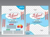 För reklamblad- & tidskriftdesign för skola rolig mall royaltyfri illustrationer