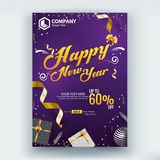 För reklambladaffisch för lyckligt nytt år 60% Sale design för mall för vektor royaltyfri illustrationer