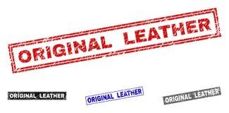 För rektangelstämpel för Grunge ORIGINAL- LÄDER skrapade skyddsremsor royaltyfri illustrationer