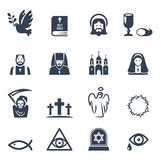 För religionsymboler för vektor svart uppsättning Arkivfoto