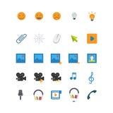 För rengöringsdukapp för plan vektor mobil symbol: musik för leendefotovideo Royaltyfri Fotografi