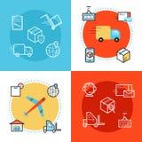 För rengöringsdukbaner för leverans och för logistik tjänste- design Arkivfoton