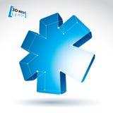 för rengöringsdukblått för ingrepp 3d symbol för ambulans på vit bakgrund, Co Arkivbild