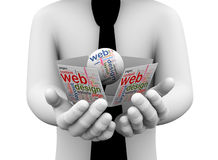 för rengöringsdukdesign för affärsman 3d hållande wordcloud Arkivbild