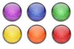 För rengöringsduksymbol för färgrik cirkel Glass glansig uppsättning för knapp Arkivbild