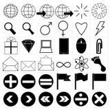 För rengöringsduksymboler för vektor svart universell uppsättning Royaltyfri Fotografi