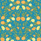 För repetitionmodell för blå citrus citron orange sömlös design vektor illustrationer