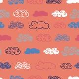 För repetitionmodell för moln sömlös design stock illustrationer