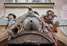 för republiktown för cesky tjeckisk krumlov medeltida gammal sikt Arionette teater i Prague Juni 13, 2016 Royaltyfri Bild