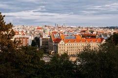 för republiktown för cesky tjeckisk krumlov medeltida gammal sikt Panoramautsikter härlig prague för afton för certovkastadsområd Royaltyfria Foton