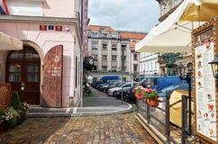 för republiktown för cesky tjeckisk krumlov medeltida gammal sikt prague gata Juni 13, 2016 Royaltyfria Foton