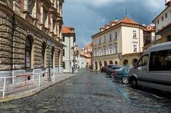 för republiktown för cesky tjeckisk krumlov medeltida gammal sikt prague gata Juni 13, 2016 Royaltyfria Bilder
