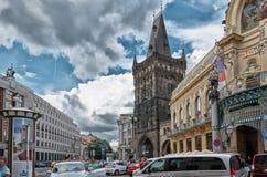 för republiktown för cesky tjeckisk krumlov medeltida gammal sikt prague gata Sommar Royaltyfria Bilder