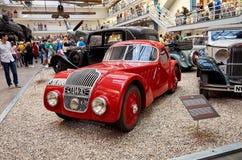 för republiktown för cesky tjeckisk krumlov medeltida gammal sikt Prague Nationellt tekniskt museum tappning för sepia för bilbil Royaltyfria Bilder