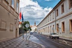 för republiktown för cesky tjeckisk krumlov medeltida gammal sikt Prague prague gata Juni 13, 2016 Royaltyfria Bilder