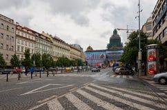 för republiktown för cesky tjeckisk krumlov medeltida gammal sikt Prague Wenceslas Square 15 Juni 2016 Royaltyfri Bild