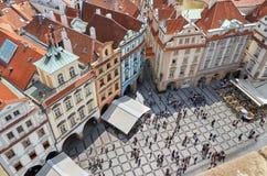 för republiktown för cesky tjeckisk krumlov medeltida gammal sikt Sikt av Prague från en höjd av den astronomiska klockan Royaltyfri Fotografi