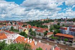 för republiktown för cesky tjeckisk krumlov medeltida gammal sikt Sikt från Visegrad på de Prague husen 18 Juni 2016 Arkivbild