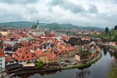 för republiktown för cesky tjeckisk krumlov medeltida gammal sikt Stad av Cesky Krumlov Arkivfoto