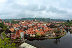 för republiktown för cesky tjeckisk krumlov medeltida gammal sikt Stad av Cesky Krumlov Arkivbilder