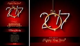 2017 för restaurangmeny för lyckligt nytt år bakgrund för mall Arkivfoto