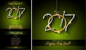2017 för restaurangmeny för lyckligt nytt år bakgrund för mall Arkivbild