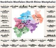 För Rhen-Westphalia för Tyskland statlig norr översikt hög detaljerad vektor med horisontkonturer för störst städer stock illustrationer