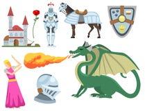 För riddarebeståndsdelar för heraldiskt kungligt vapen medeltida illustration för vektor för emblem för slott för heraldik för sy vektor illustrationer