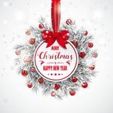 För rissnöfall för jul klistermärke fryst pilbåge för struntsaker röd vektor illustrationer