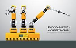 För robotarm för maskin robotic fabrik för hand royaltyfri illustrationer