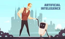 För robotassistenter för konstgjord intelligens illustration royaltyfri illustrationer