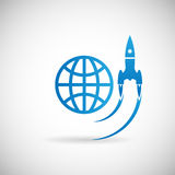 För Rocket Space Ship för symbol för nytt affärsprojekt Startup mall för design för symbol lansering på Grey Background Vector Il Royaltyfri Fotografi