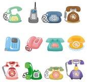 för rolig retro set symbolstelefon för tecknad film Fotografering för Bildbyråer