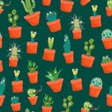 För roliga bakgrund för modell kaktustecken för tecknad film sömlös vektor royaltyfri illustrationer