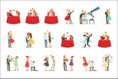 För romantikerSt för par förälskat datum för dag för valentin s, vänner och romansuppsättning av vektorillustrationer royaltyfri illustrationer