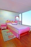 För rosa färger sovrum flickaktigt Arkivfoto