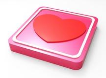 För rosa färgfyrkant för förälskelse glansig knapp Royaltyfria Bilder