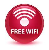 För rosa färgrunda för fri wifi glas- knapp Arkivbild
