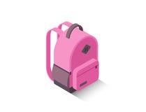 För rosa färgskola för vektor isometrisk modern ryggsäck Royaltyfri Foto