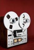 För rullbandspelardäck för parallell stereo öppen tappning för registreringsapparat Arkivfoto