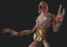 för rullgardindemon för illustration som 3D monster isoleras på grå bakgrund Royaltyfria Foton