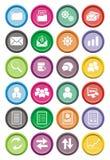 För rundasymbol för tillbaka kontor uppsättningar royaltyfri illustrationer