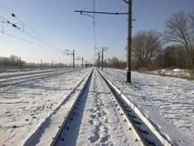 för ryssdrev för fraktar järnväg vinter Arkivbild