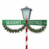 för säsongtecken för 3 hälsningar s gata Arkivbilder