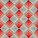 För sömlös diagonal röd blå Retro modell Tan Stripe Rhombus Blocks Grid för raster Grunge Royaltyfri Bild