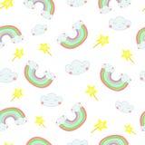 För sömlös utdragen illustration modellhand för vektor av en regnbåge ut ur molnen royaltyfri illustrationer