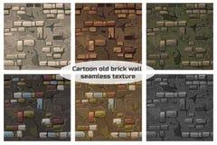 För sömlös vägg för tegelsten för spricka modelltextur för samling gammal royaltyfri illustrationer