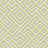 För sömlös vit färg geometriska Maze Pattern blåttguling för raster Royaltyfri Foto
